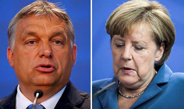 Victor Orbasn and Angela Merkel