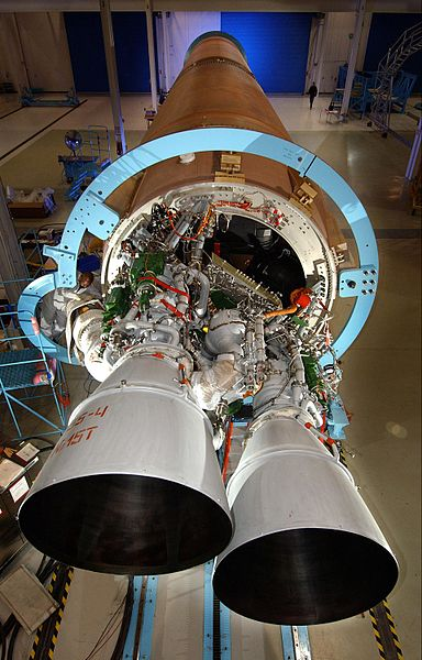 The Russian RD-180 rocket engines fitted to a US Atlas V rocket