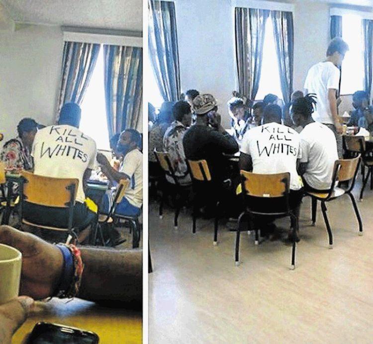 Kill alll whites t-shirts at the university