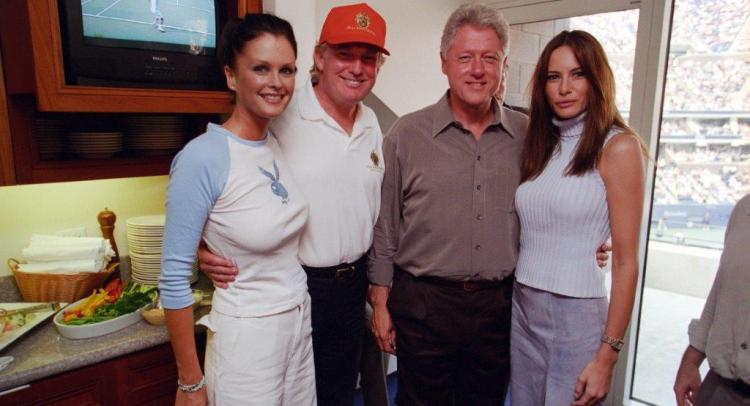 Donald Trump poses with Bill Clinton, Melania Trump and Sports Illustrated swimsuit model Kylie Bax in 2000.