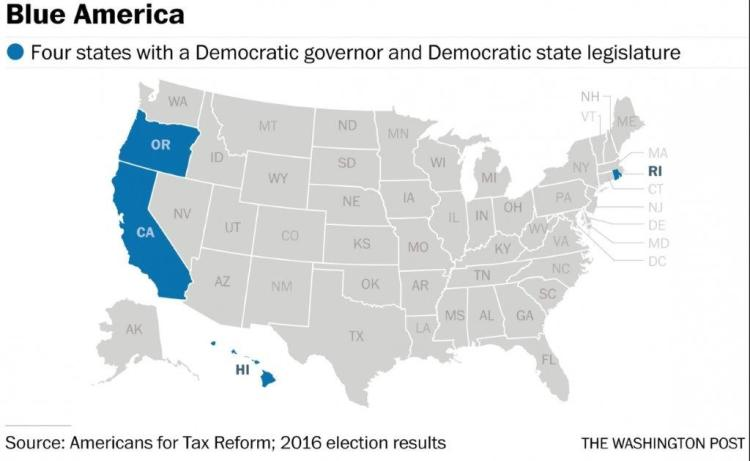 The bits of the US run by Democrats