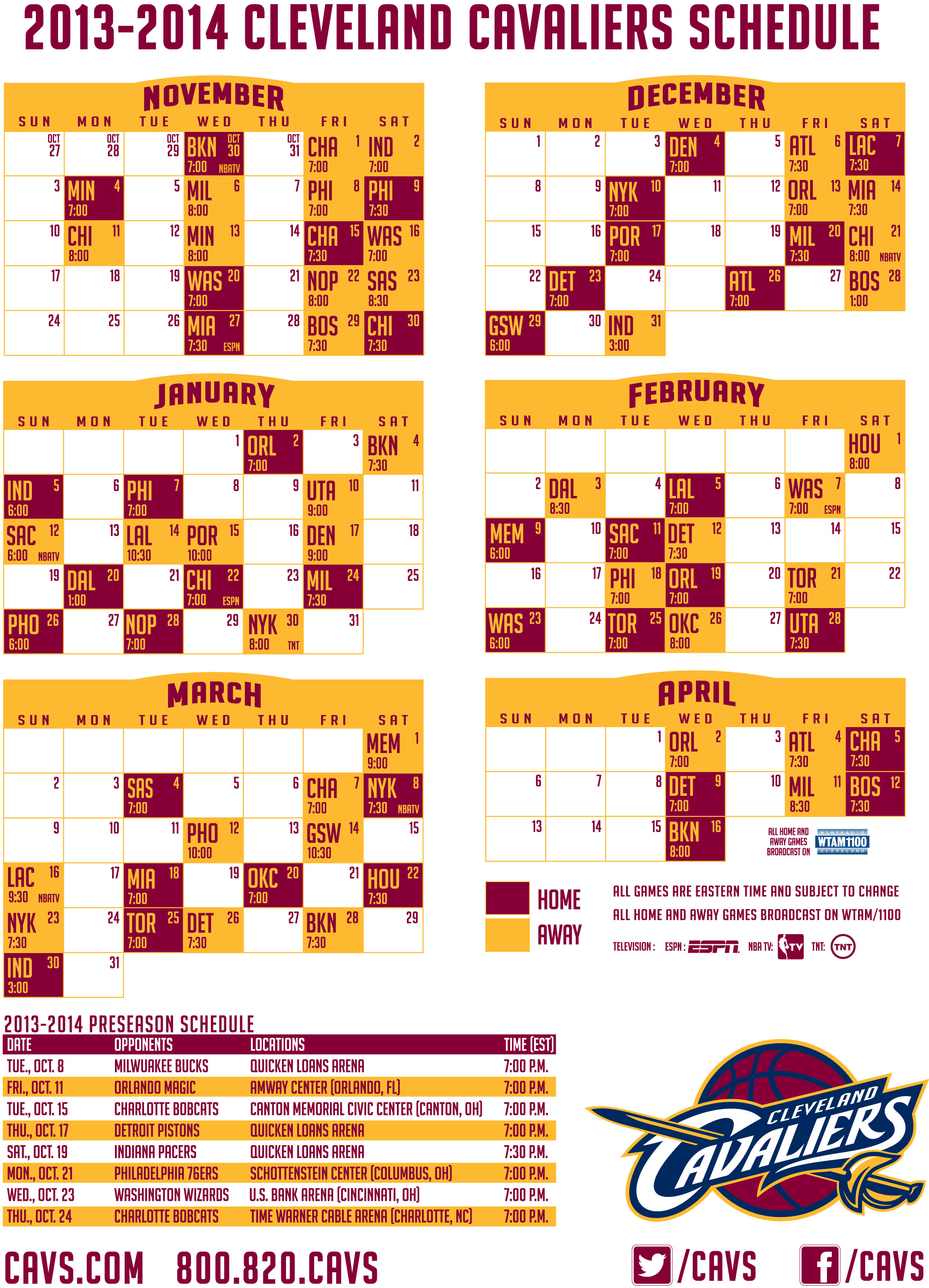 photograph about Cleveland Cavaliers Printable Schedule known as 2013-2014 Cleveland Cavaliers Agenda - WEOL Radio 930 AM