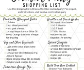 cocktail party shopping list