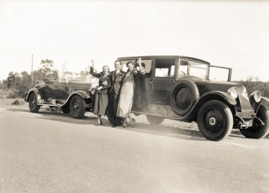 Jessie Pidgeon with Best Man, Geoff Turton (aka Petrov) and his wife Mollie seeing Bill and Jess off on their honeymoon at Kosciusko, 24 Aug 1933.