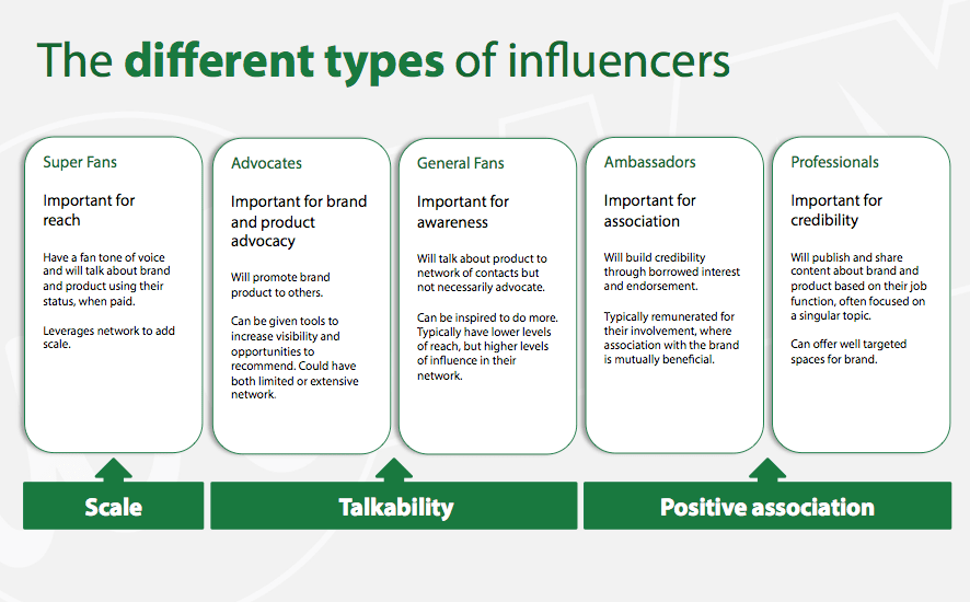 different types of social media sport influencers