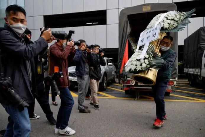 Flower arrangements for Lee Kun-hee's funeral in Seoul
