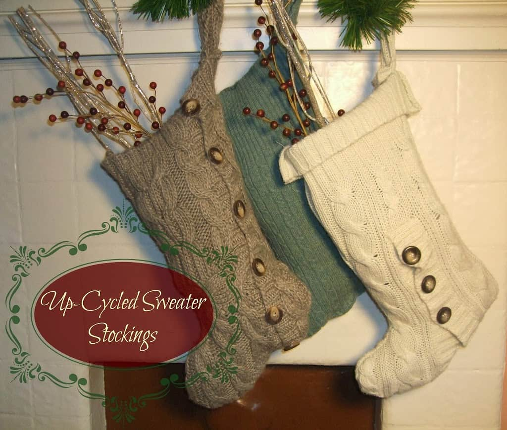 up cycled sweater stockings 12 days of handmade christmas far from normal - Sweater Christmas Stockings