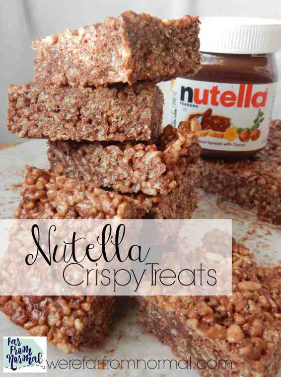 Be careful with these! It's easy to eat the whole pan!! Chewy crunchy crispy treats with the awesome taste of Nutella!!