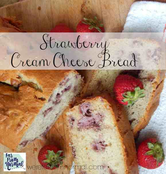 This strawberry cream cheese bread is bursting with strawberry flavor! Soft, just sweet enough and full of juicy berries it's just about perfect!