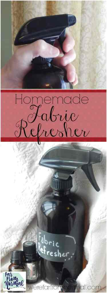Ditch the chemical laden Febreeze and whip up a bach of this fabric refresher! Made with essential oils and natural ingredients it works great!