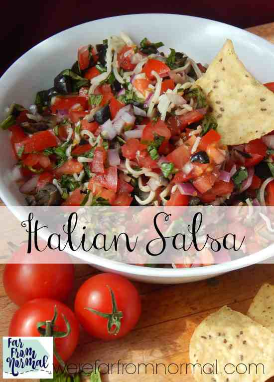 Fresh tomatoes, garlic, basil.... delicious Italian flavors in a salsa!! The perfect snack!
