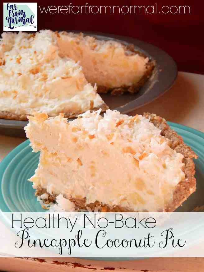 This no bake pineapple coconut pie is amazing!! So delicious and rich but made with Greek yogurt & honey with a pecan crust! A perfect no-bake summer pie!