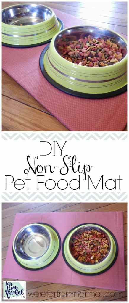 Keep your pet's food area neat and tidy with this easy to make mat. Non slip backing keeps it in place while your dog or cat eats!