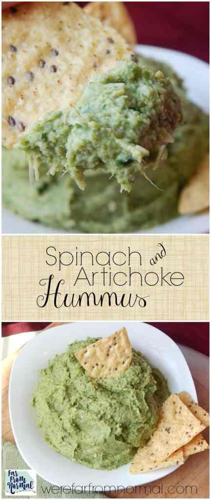 The two best dips in the world combined into one!! This spinach artichoke hummus is addiciting and everyone is sure to love it!