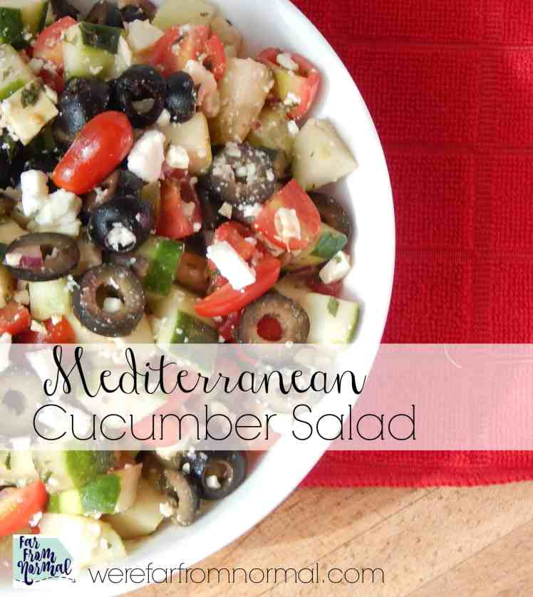 If you love the flavors of the Mediterranean you'll be crazy about this Mediterranean cucumber salad!! Fresh cucumbers, feta, tomatoes and more!! So delicious!