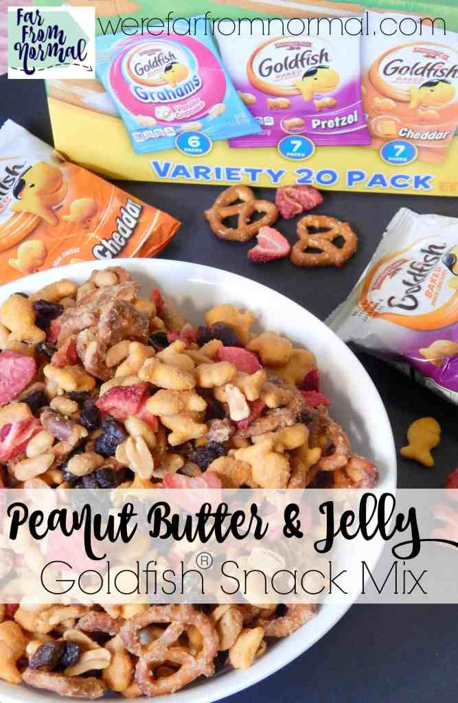 This peanut butter and jelly snack mix is loaded with flavor and easy to make! It is the perfect afterschool snack or lunchbox t