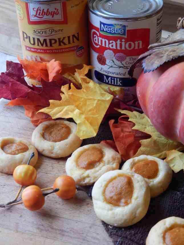 pumpkin pie thumbprint cookies