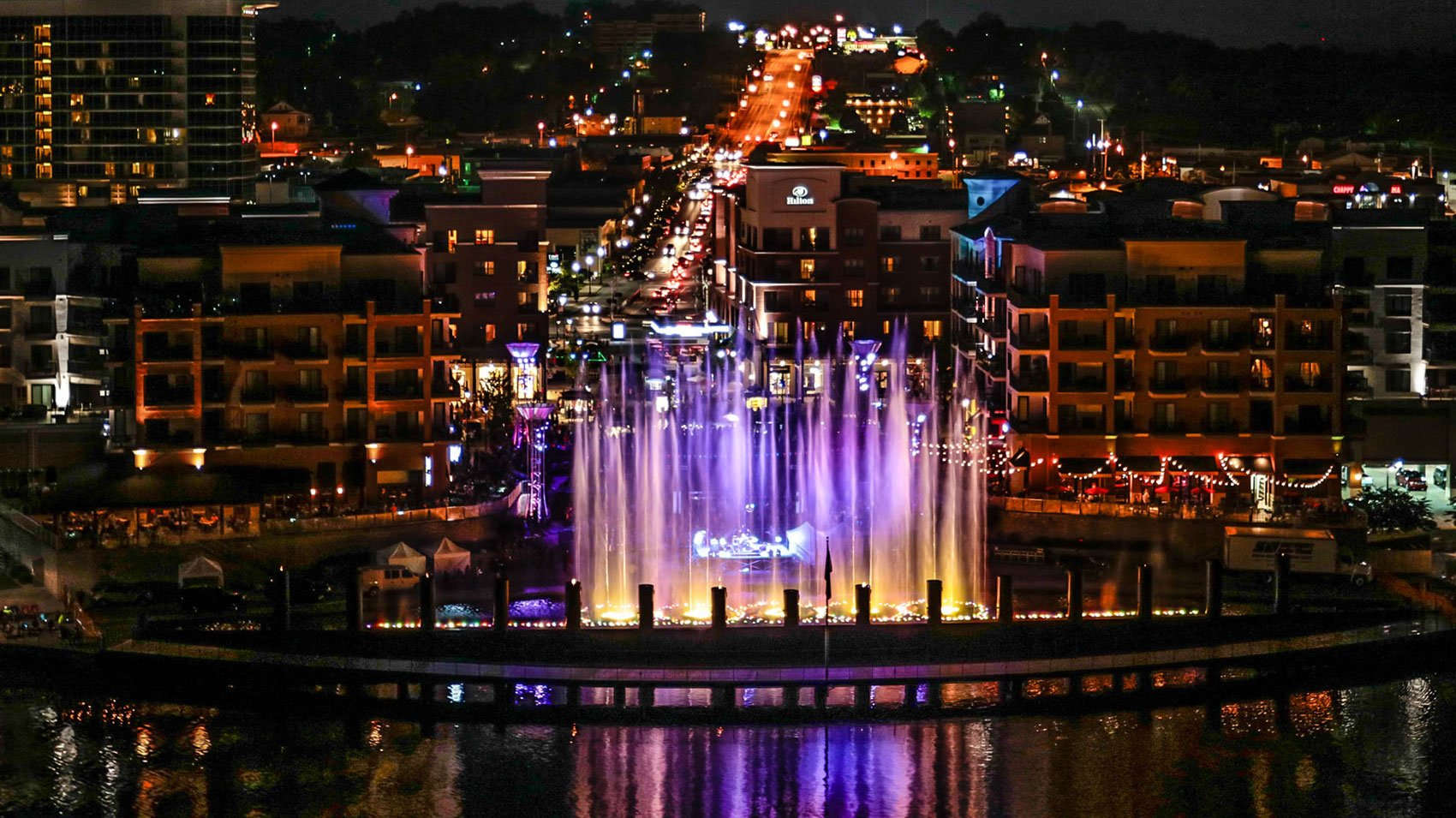 The Branson Landing - Night Fountain
