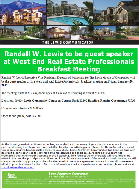 Randall Lewis Guest-Speaker in January