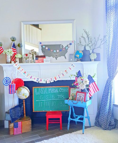 Team USA Olympic Themed Mantle Display