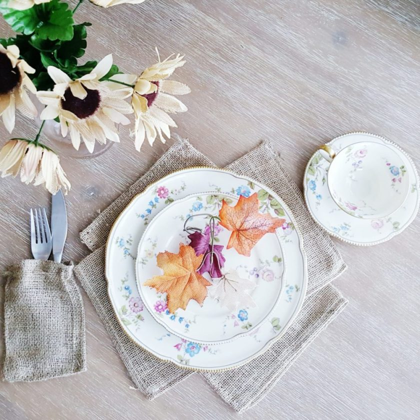 Fall Burlap Sacks Tablescape Decorating Thanksgiving Table