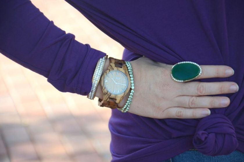 Purple Piko Shirt JORD Wood Watch Arm Candy Fall Accessories