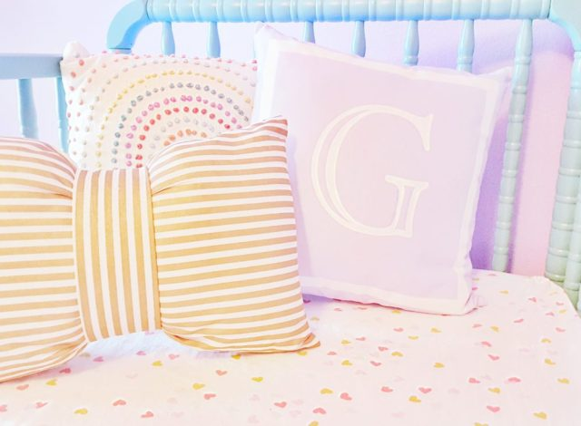 Gold and White Bow Pillow Initial Pillow Lavender Nursery