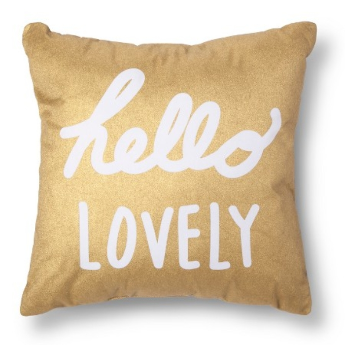 Hello Lovely Gold Throw Pillow