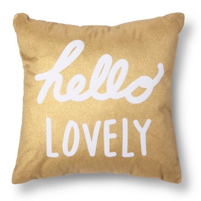 Hello Lovely Gold Throw Pillow