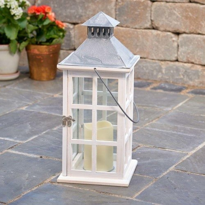 Antique White Candle Lantern