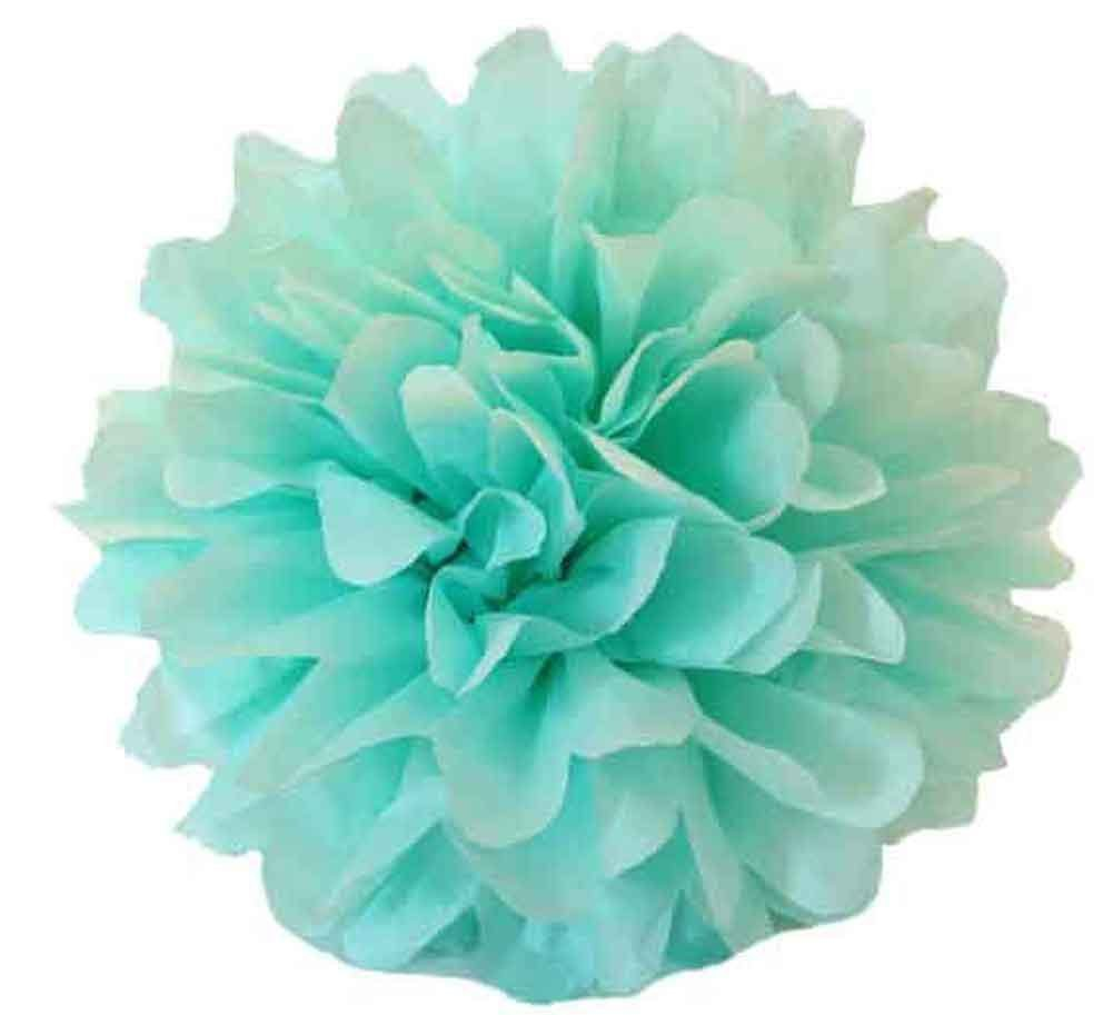 tissue paper flowers pom pom mint