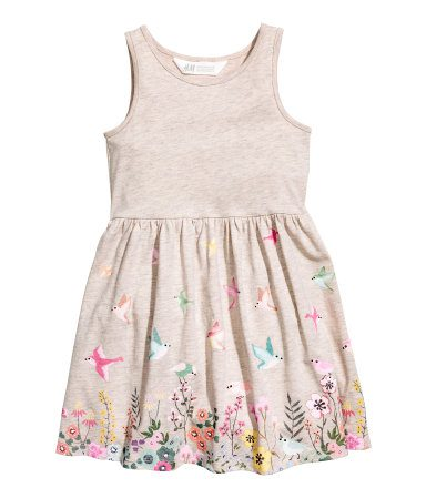 Birds and Flowers in Fields Pattern Jersey Dress