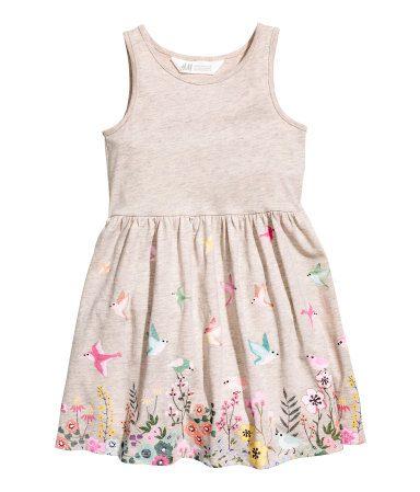 Birds and Flowers in Fields Pattern Jersey Dress