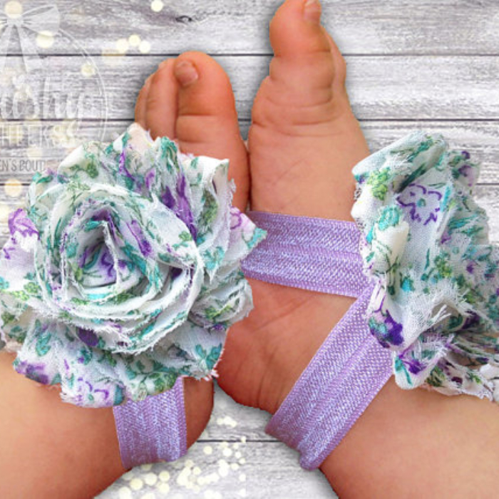 Baby Barefoot Sandals Vintage Purple Floral Piggy Petals - Flower Sandals - Baby Girl Shoes - Baby Girl Sandals