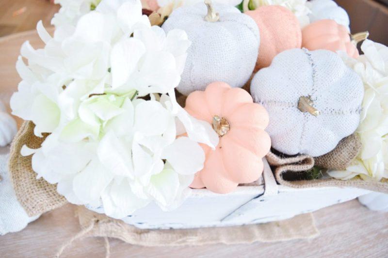 DIY how to simple fall centerpiece hydrangeas burlap sacks painted pumpkins