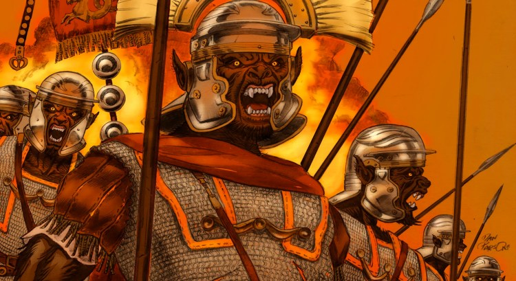 "Roman centurions get bit by a werewolf and create an ""Empire of the Wolf"" featured image"