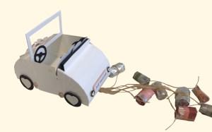 Cabrio aus Papier zur Hochzeit mit Geldgeschenk