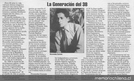 Chile - Generación Literaria de 1938