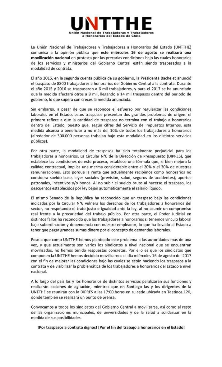 Chile - Concepción: Honorarios continúan protestas contra condiciones de traspaso a contrata