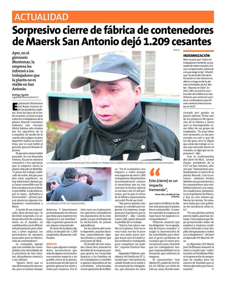 Chile - Cierra fábrica Mersk en San Antonio, 1.209 trabajadores despedidos