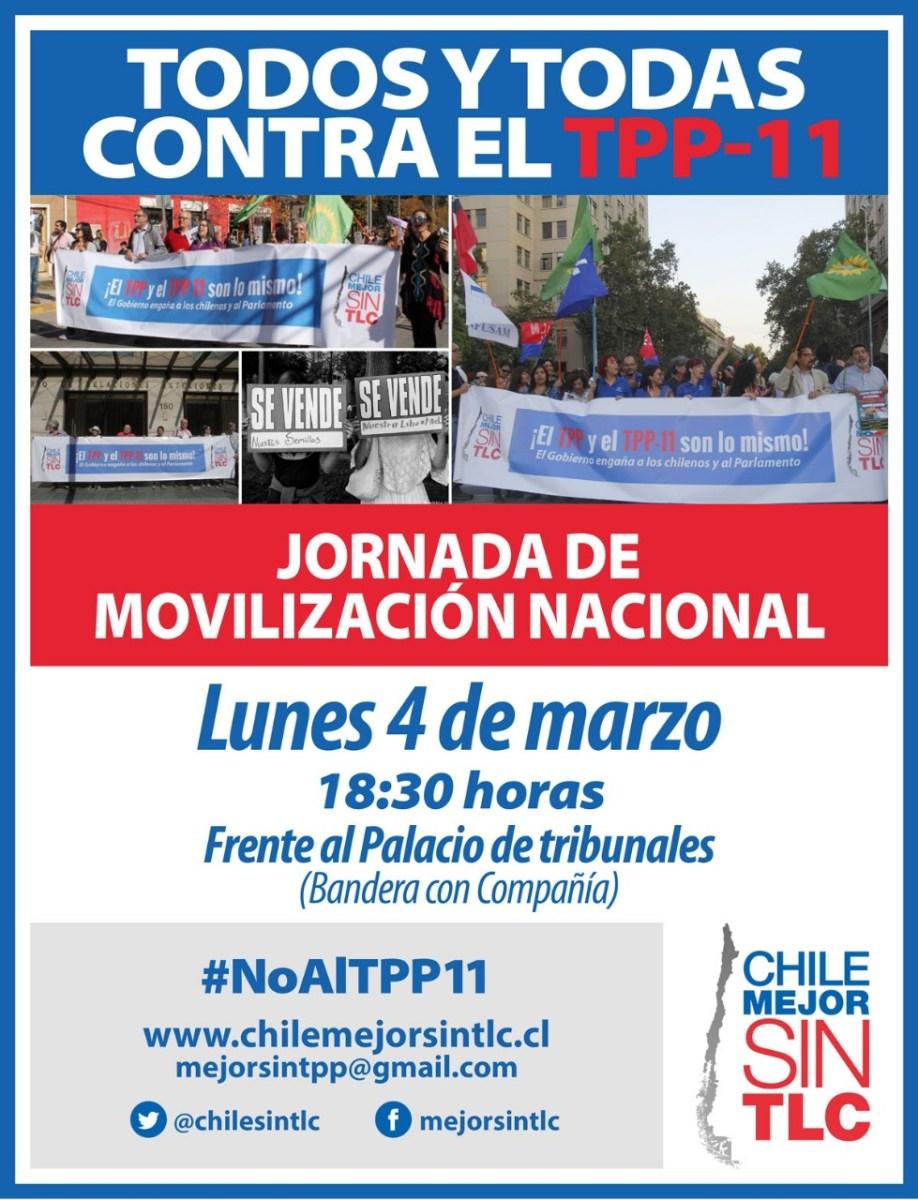 Comienza la movilización. Organizaciones sociales y de trabajadores convocan el 4 de marzo a rechazar el TPP11 en Santiago y Valparaíso.