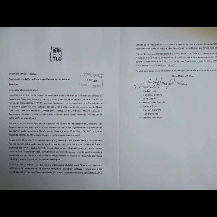 TPP-11: Chile Mejor Sin TLC solicitó al Presidente de la Comisión de RREE del Senado que el TPP-11 sea abordado en todas las Comisiones del Senado y que sean escuchados sus argumentos en rechazo al TLC.