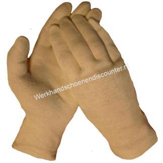 Katoenen tricot handschoen open eind lichte kwaliteit herenmaat kleur ecru