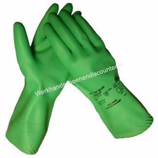 Handschoen KCL Lapren 706 latex groen met vlokvoering, chemicaliën bestendig lengte 31 cm