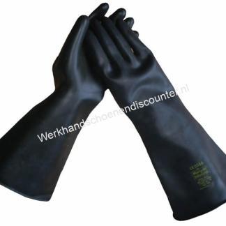 Handschoen MARIGOLD Emperor natuurlatex zwart lengte 61 cm EN 388 EN 374 Ook leverbaar in 45 cm Art.10236 Beschikbaar in maten 9, 10 Type: Marigold
