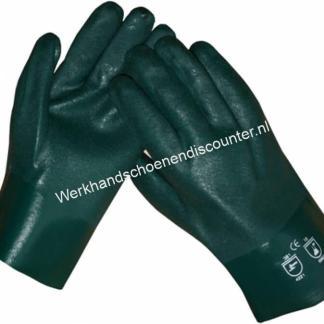 Werkhandschoen PVC groen lengte 27 cm met anti/slip coating en jersey voering. EN 388 EN 374 Ook leverbaar in lengte 35 cm Beschikbaar in maten 10,5