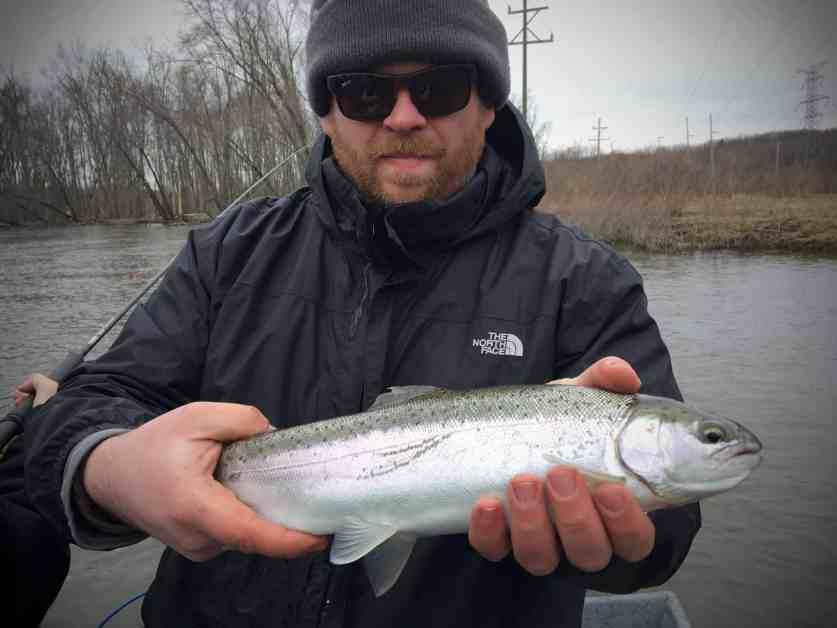 Man holding a skippy steelhead from the Kalamazoo River