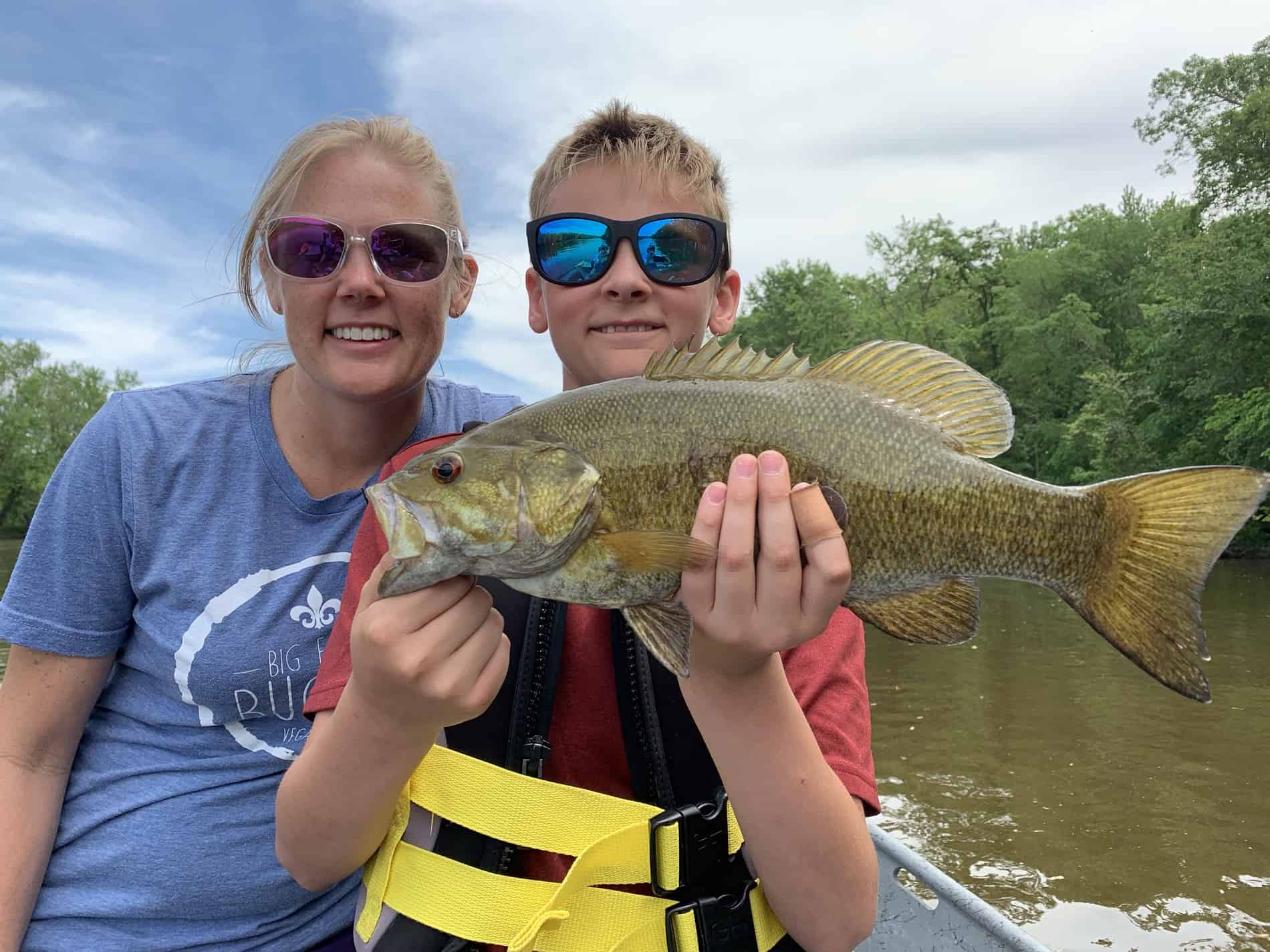 Smallmouth bass caught in high and dirty water