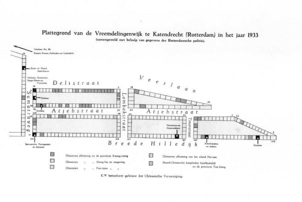 plan of Katendrecht in 1933