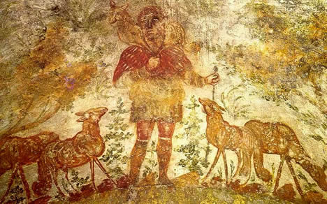 "Jesus as the Good Shepherd from the early Christian catacomb of Domitilla/Domatilla (Crypt of Lucina, 200 AD). How does the idea of ""one flock, one shepherd"" impact your partnership?"